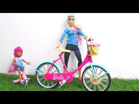 Barbie und Chelsea fahren mit dem Fahrrad - Spielzeugvideo für Kinder
