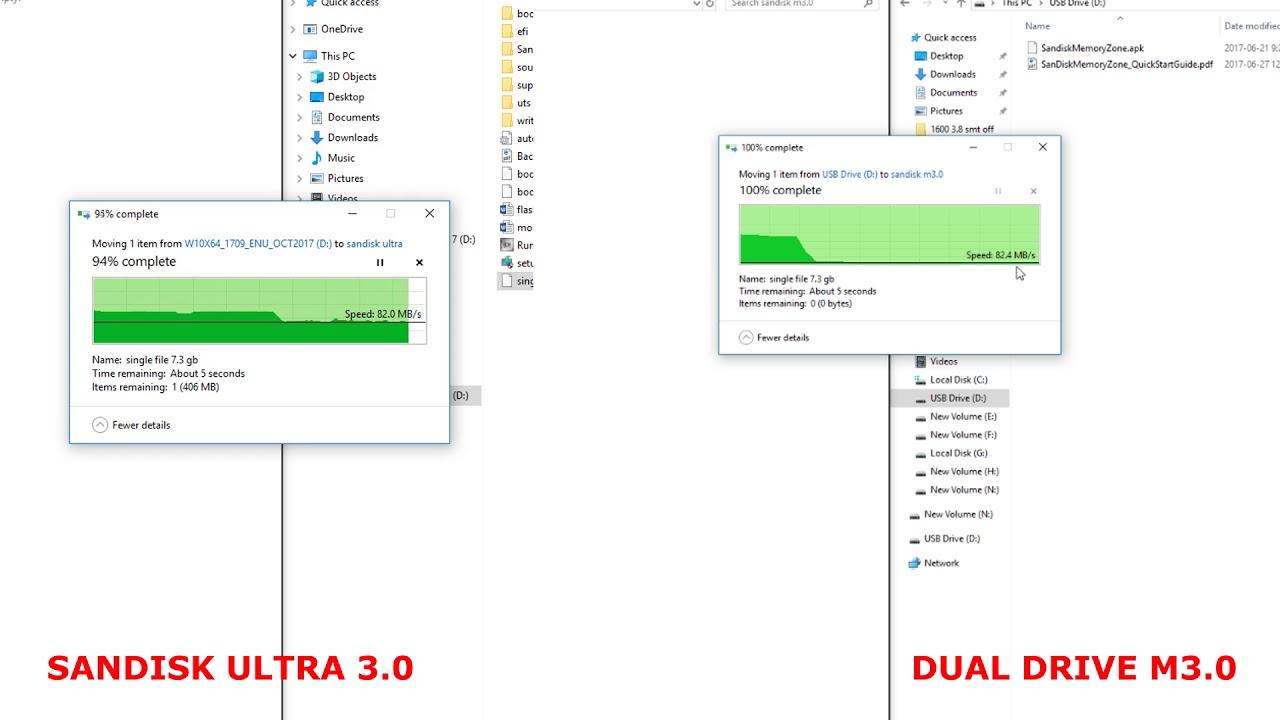 Sandisk ultra USB 3 0 vs Dual drive M3 0 | Speed Test