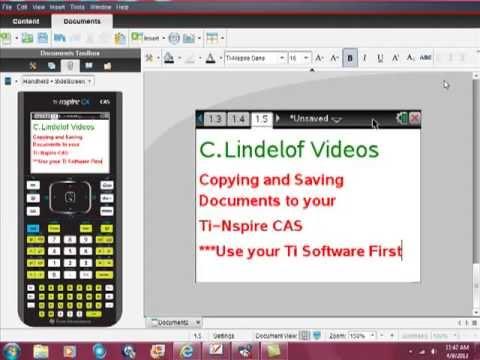 Ti-Nspire CAS Saving Capturing Transferring Documents