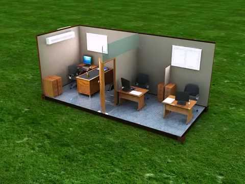 Contenedor oficina 3puestos officetainer youtube for Contenedores de oficina