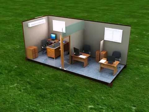 Contenedor oficina 3puestos officetainer youtube for Container oficina