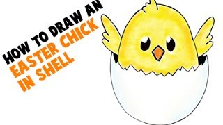How to Draw a Cartoon Baby Chick for Easter for Kids
