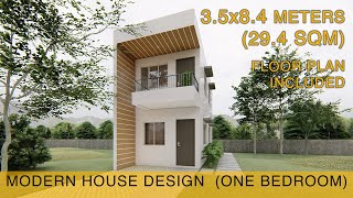 Small House Design Idea  3.5x8.4meters  29.4sqm With Balcony