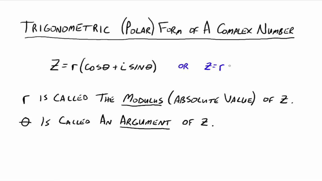 The Polar Form of Complex Numbers - YouTube