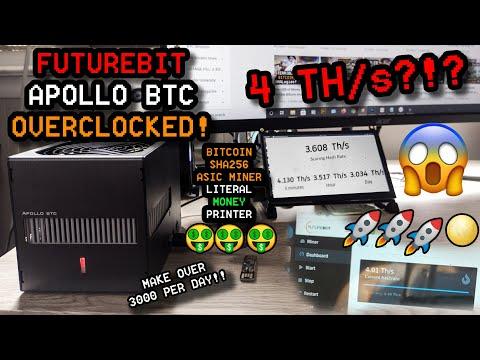 FutureBit Apollo BTC Bitcoin Mining Rig ~4TH/s OVERCLOCKED Overview + Profitability & Temps, JTC20
