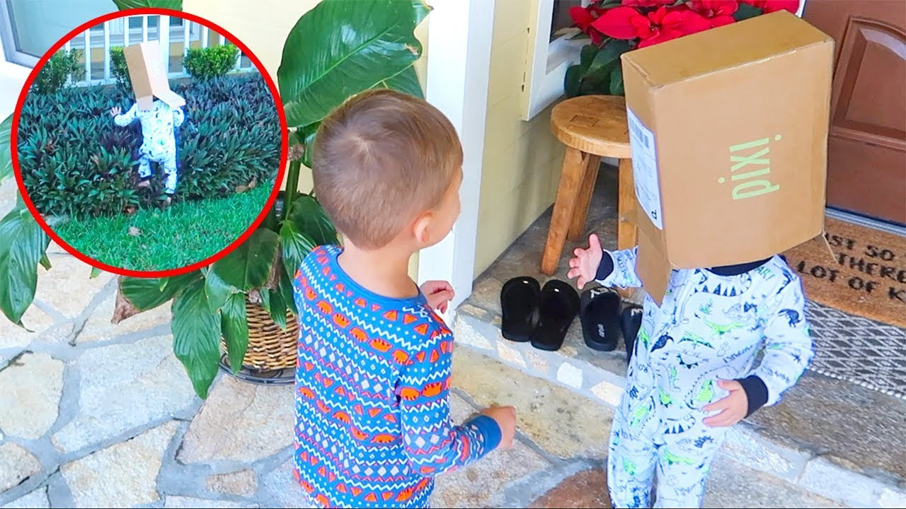 funniest-moment-with-our-kid-running-with-a-box-on-his-head