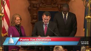 Sen. Theis welcomes Pastor Christosen to the Michigan Senate