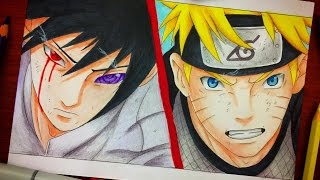 Speed Drawing - Final Battle Naruto Vs Sasuke Drawing (Sage of the Six Path Power) [HD]
