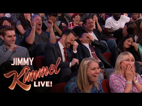 Sacha Baron Cohen on Kimmel. Shows a clip to his new movie but it's too graphic so they show the audience watching it instead. Clever marketing