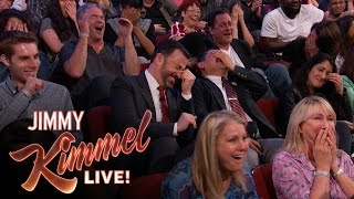 "Sacha Baron Cohen Shows EXTREMELY Graphic Movie Clip to ""Kimmel"" Audience thumbnail"