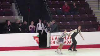 2020 Canadian Tire Figure Skating Championships.Novice Ice dance Victory Ceremony.