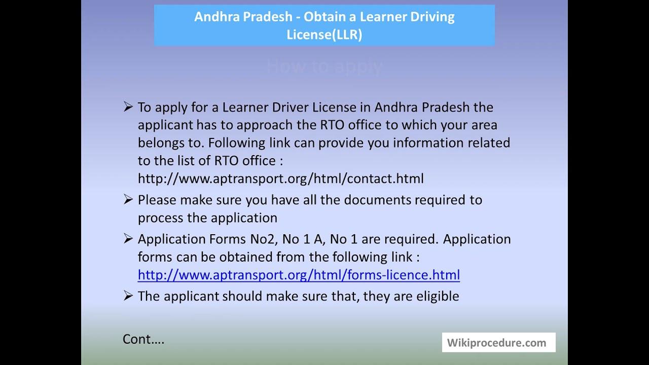 Andhra Pradesh - Obtain a Learner Driving License(LLR)