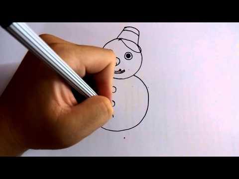 วาดการ์ตูนกันเถอะ สอนวาดการ์ตูน ตุ๊กตาหิมะ สโนว์แมน ง่ายๆ หัดวาดตามได้