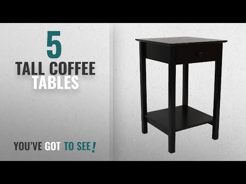 Top 10 Tall Coffee Tables [2018]: Adeco Square Accent Table with Drawer, Black