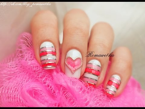 Маникюр с сердечками розовый