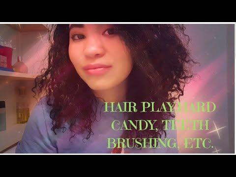 💇ASMR HAIR PLAY, HARD CANDY,TEETH BRUSHING,ETC🍬