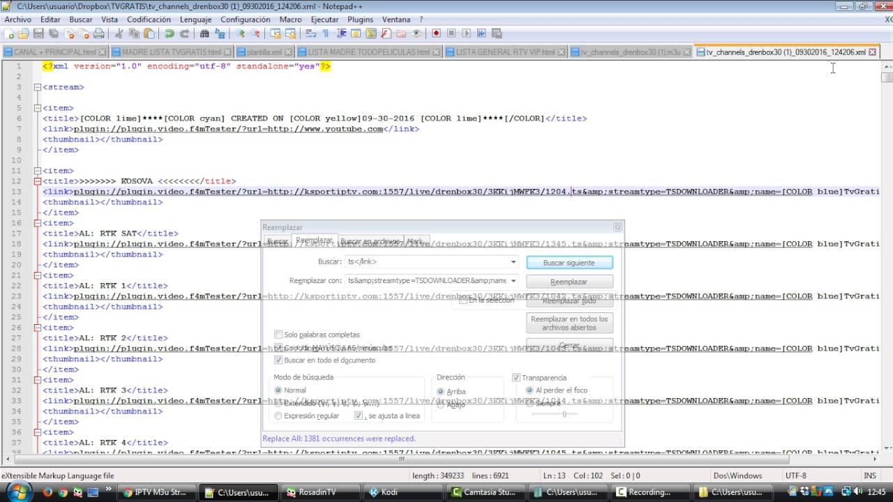 hacer lista xml enlaces ts - - vimore org