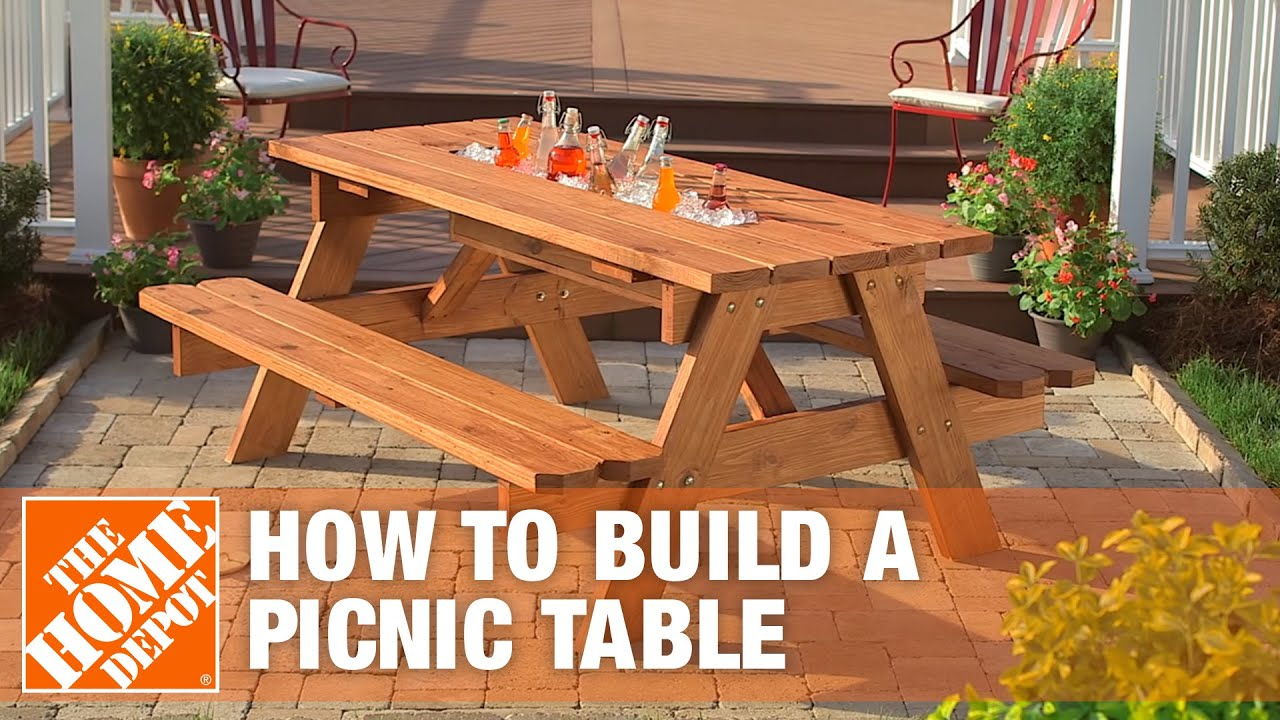 ... picnic table with built in cooler the home depot on picnic table plans