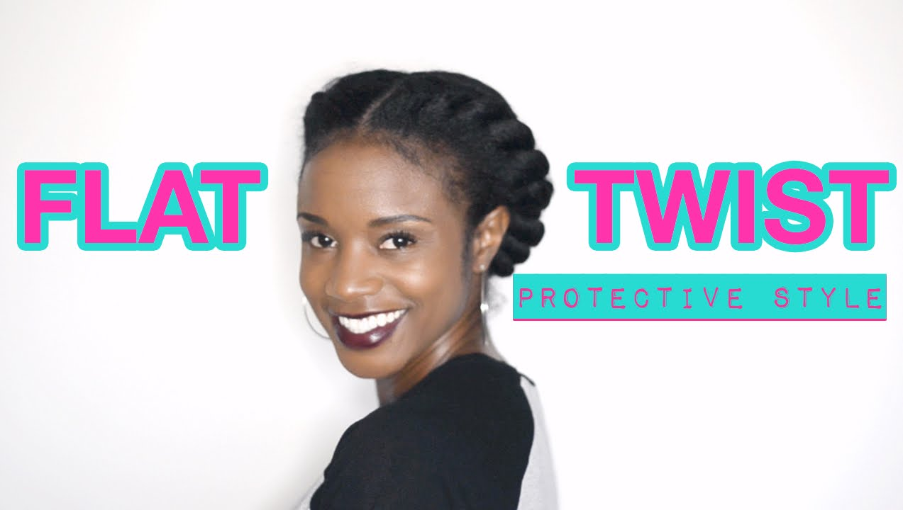 Natural Hair Two Strand Flat Twist Protective Style Youtube