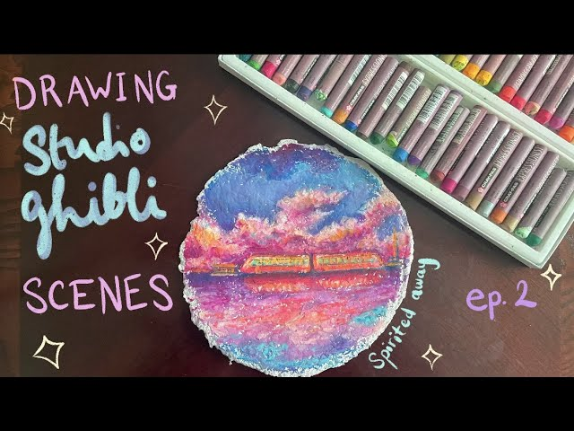 [VIDEO] 🌅 drawing a scene from Spirited Away with oil pastels   Studio Ghibli Art