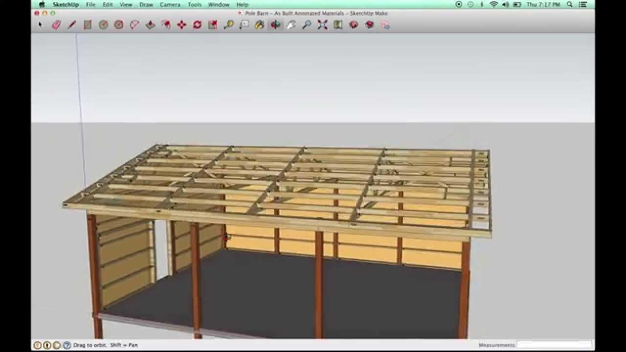 Pole Barn Model In Sketchup Youtube