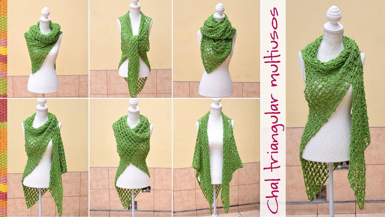 Chal con sisas triangular multiusos tejido en nudo salomon a crochet ...