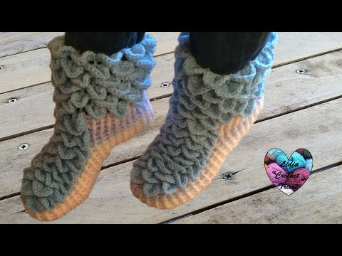 Chaussons adulte point crocodile crochet facile 1/2 / Crochet crocodile stitch socks