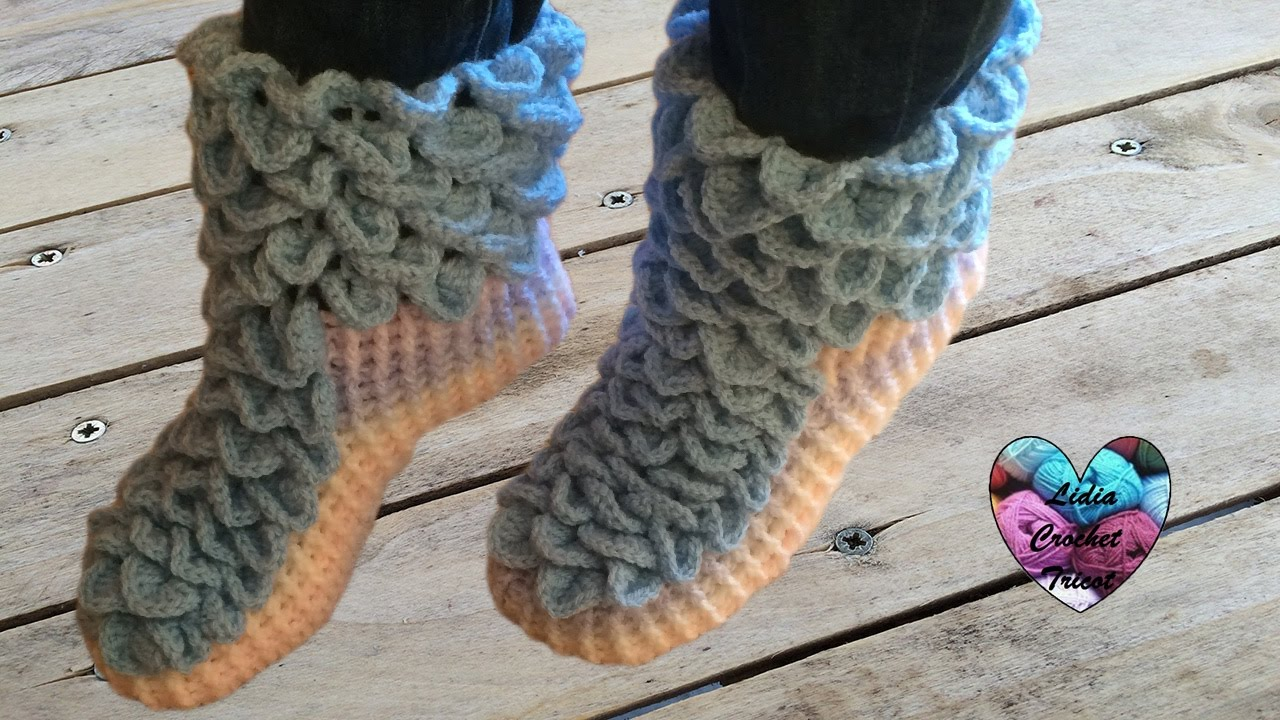 chaussons adulte point crocodile crochet facile 1 2 crochet crocodile stitch socks youtube. Black Bedroom Furniture Sets. Home Design Ideas