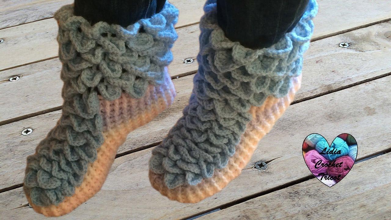 chaussons adulte point crocodile crochet facile 1 2 crochet crocodile stitch socks
