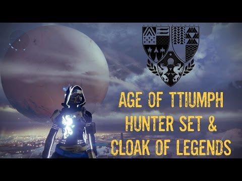 destiny: age of triumph hunter full set & cloak of legends - 1080p