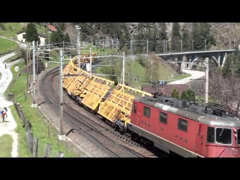 Switzerland:  A northbound engineering train passes Wassen, Gotthard Pass 05/05/16