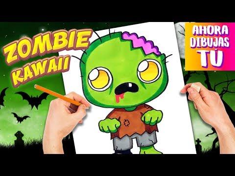Como Dibujar Zombie Kawaii Dibujos Halloween Dibujos