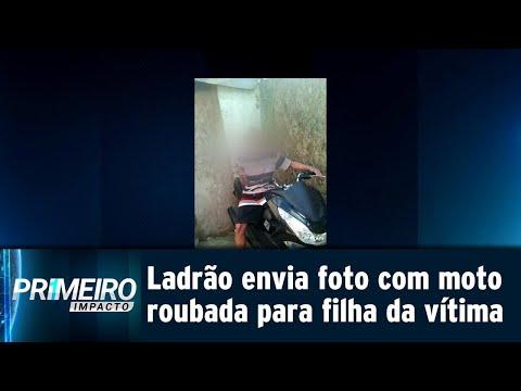 Ladrão envia foto de moto roubada para filha da vítima e ironiza | Primeiro Impacto (20/07/18)