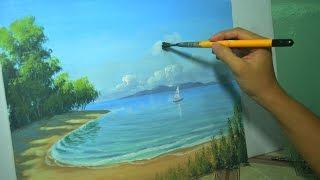 Seascape time-lapse acrylic painting by JM Lisondra