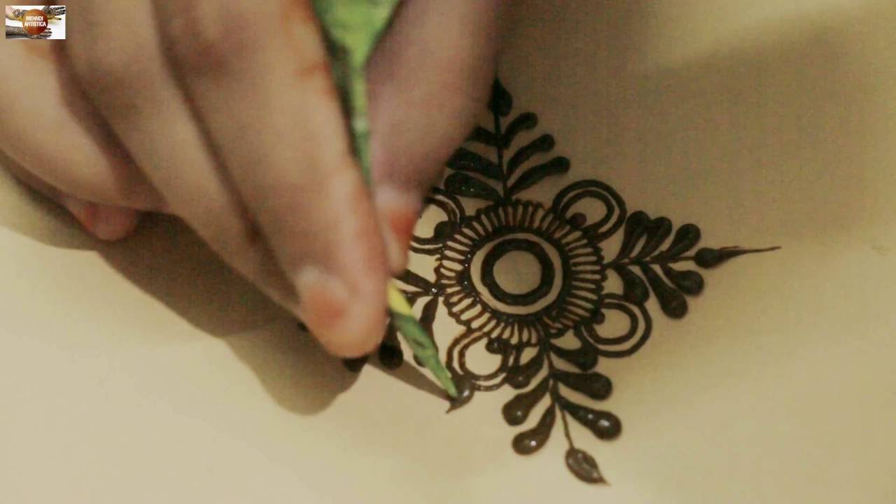 How To Practice Basic Simple Mehndi Design Circular With Leaf