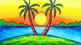 How to Draw Easy Scenery | Drawing Sunset Scenery Step by Step with Oil Pastels