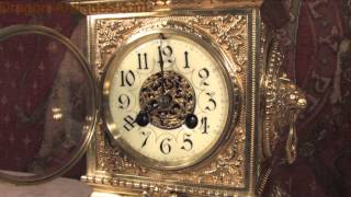 Antique Clock French Gilt Brass Table Clock Fritz Marti