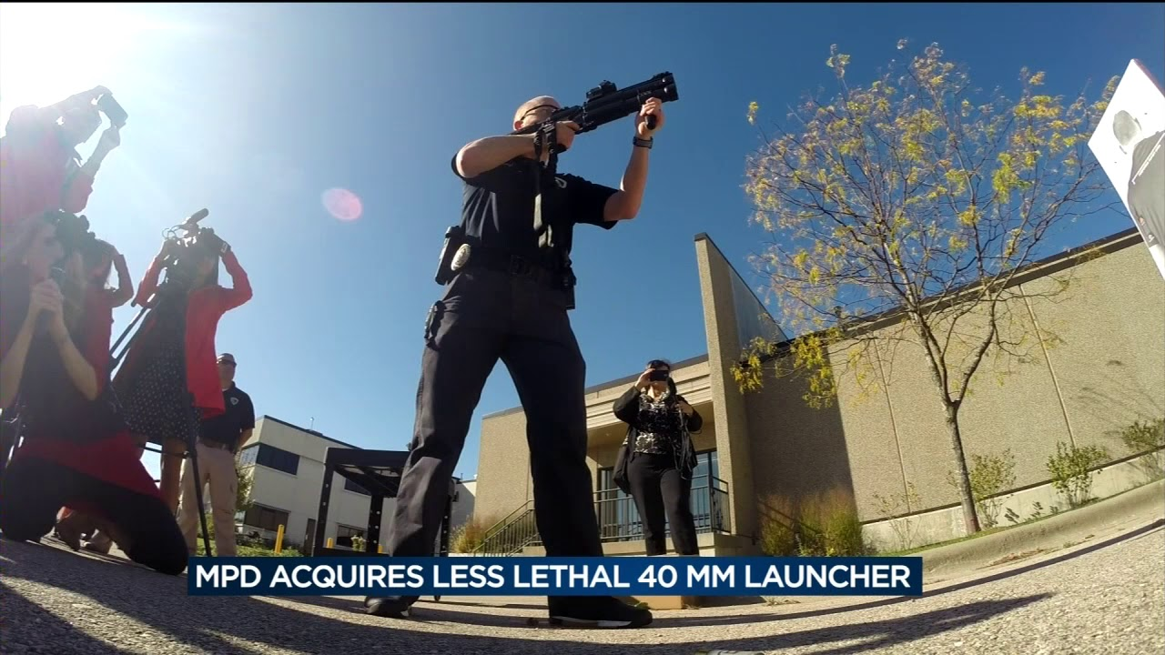 Police use less lethal 40 mm launcher to save man's life