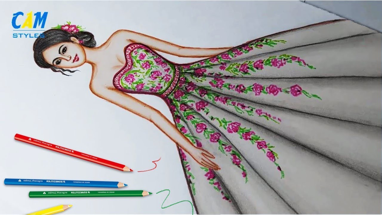 Drawing Dress Using Color Pencil Fashion Illustration Art Fashion Illustration Sketches Youtube