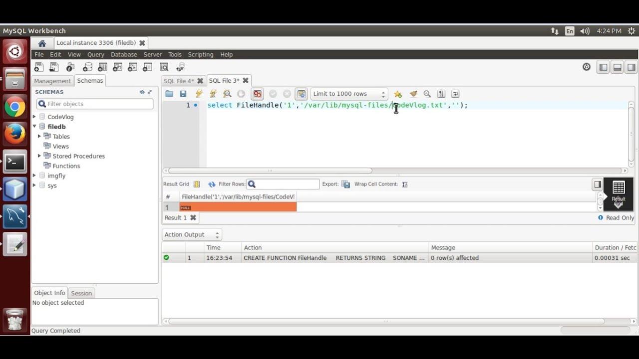 Create, Write, Read, Delete File from MySQL Server(C programming)