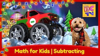 Learn Math with Monster Trucks for Kids | Subtracting - Christmas Edition