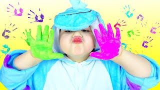GumGumChiki Finger Painting Kids Art with Colored Paint Part 2