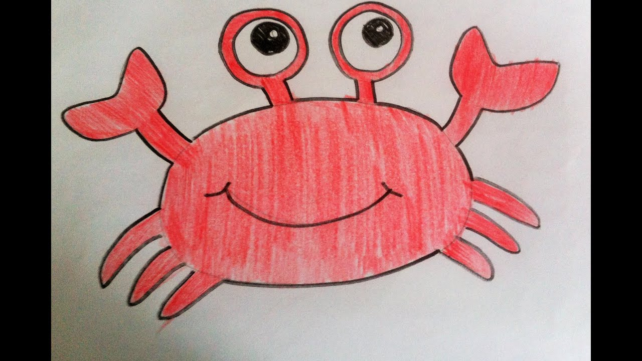 How to Draw- Cartoon Crab EASY STEPS - YouTube  How to Draw- Ca...