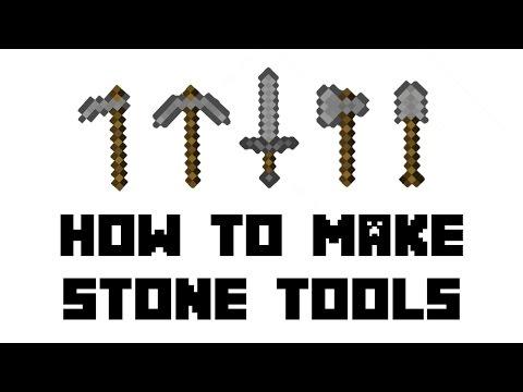 Minecraft Survival How To Make Stone Tools Hoe Shovel Axe Xe Sword