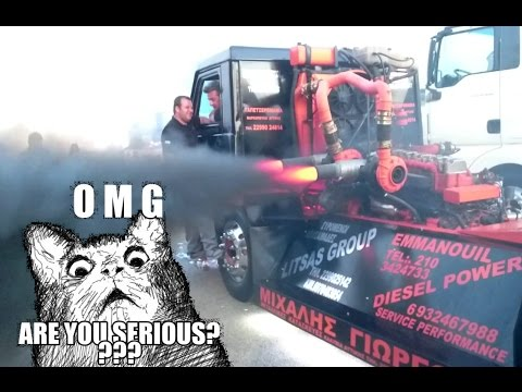 TWIN TURBO DIESEL SMOKE & FIRE!!!! - Volvo F16 Dragster Truck @ YouTruck 2015!!!