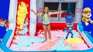 Paw Patrol in the Inflatable Assistant Bounce House Mr Bubble Foam Surprise with PJ Masks