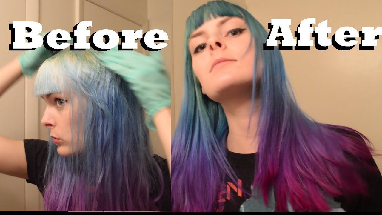 Dyeing My Hair Dark Green Blue Purple And Pink For Fall