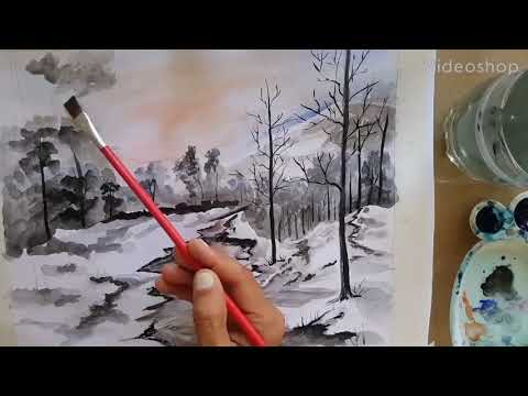 Watercolor Painting| Watercolor Tutorial of Landscape Step by Step |Two brush Technique