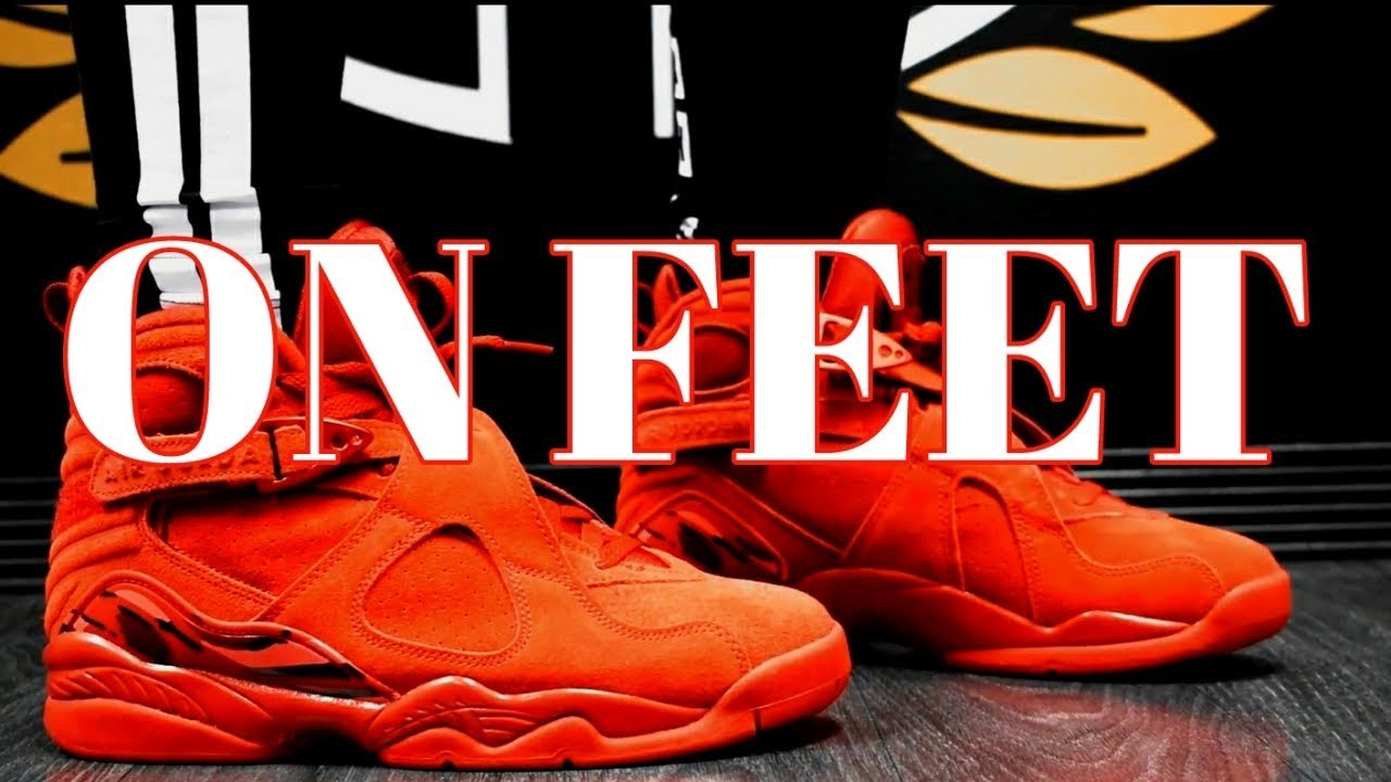6ab15eba26114c AIR JORDAN VIII VDAY ON FEET - YouTube