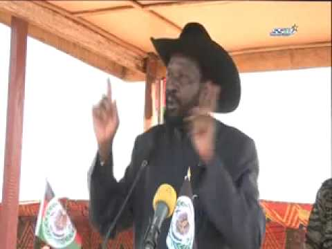 President Kiir of the democratic of Republic of South Sudan addressing spla in Bilpam Juba.